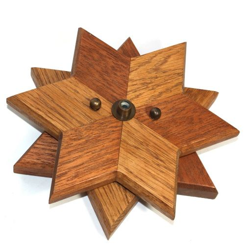 200mm Oak and Sapele Cordgrip Star Ceiling Rose by Dave@Abitofbrass